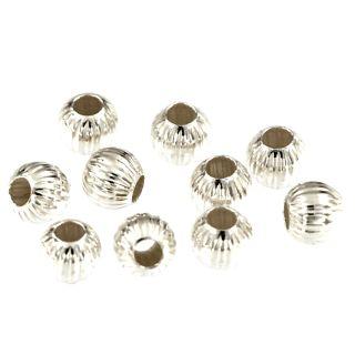 2 Stück Kugel gerillt Ø 10 mm 925 Silber