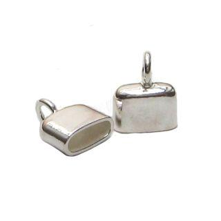 1 Paar Endkappen länglich 925 Silber