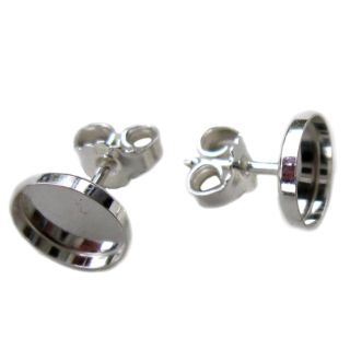 Fassung Cabochon Ohrstecker 6 mm 925 Silber