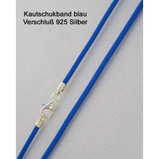 Kautschukkette Kautschukband blau 925 Silber