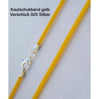 Kautschukkette Kautschukband gelb 925 Silber