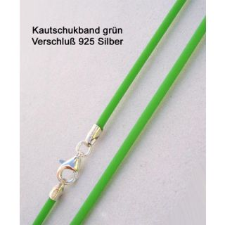 Kautschukkette Kautschukband gruen 925 Silber
