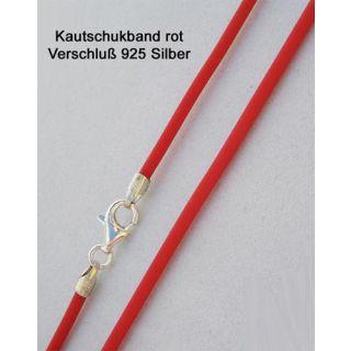 Kautschukkette Kautschukband rot 925 Silber