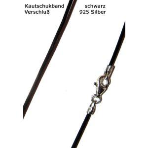 Kautschukkette Kautschukband schwarz 925 Silber