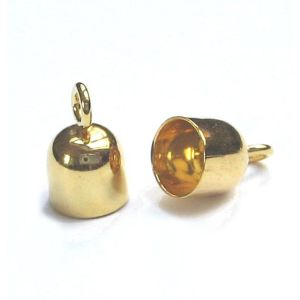 1 Paar Endkappen 925 Silber vergoldet Ø 2 mm innen