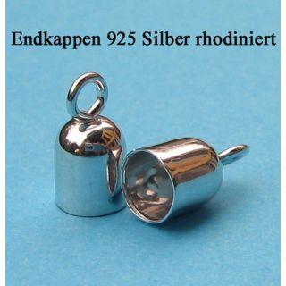 1 Paar Endkappen 925 Silber rhodiniert Ø 2 mm innen