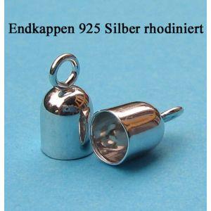 1 Paar Endkappen 925 Silber rhodiniert Ø 6 mm innen