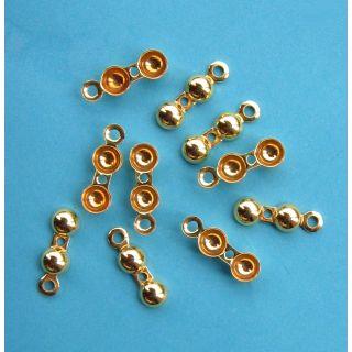 10x Klappkapseln Ring & Fadenloch Ø 4 mm 925 Silber vergoldet