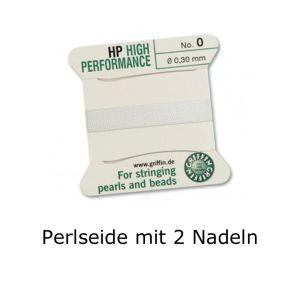Perlseide mit 2 Nadeln 0,30 mm weiss Aufreihmaterial