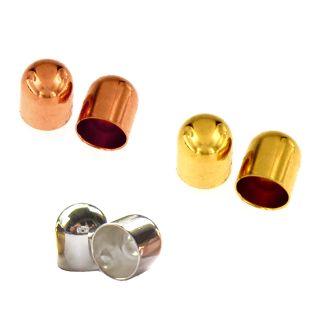 Endkappen ohne Öse Ø 6,00 mm 2 Stück 925 Silber, vergoldet, rosevergoldet