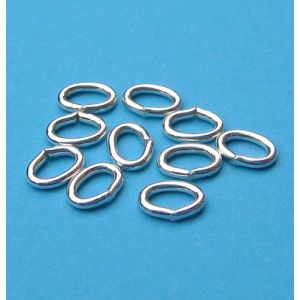 10 Stück Biegering oval 5,0 x 3,8 mm 925 Silber